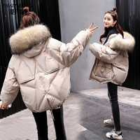 2019 New Fashion Warm Winter Short Coats Women Loose Parkas Outwear Female Fox fur collar Hooded Winter Down jackets tops NO949