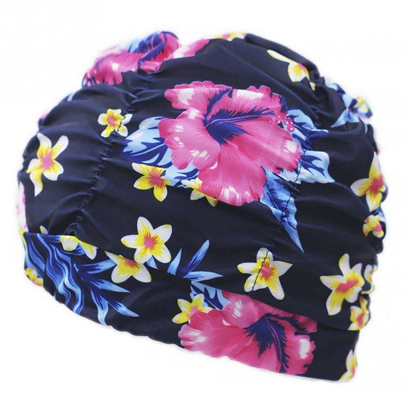 Women Men Pleated Floral Printed Swimming Cap Swim Pool Beach Surfing Long Hair Ears Protection Caps Hats hot men women summer lycra swimming caps anti uv sunscreen nylon mask facekini head ear long hair protection diving hats i