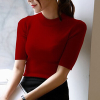 Hiver Femmes Lady O Cou Demi Manches Tricoté Mince Pull Jumper Tops Casual Solide couleur Chandail