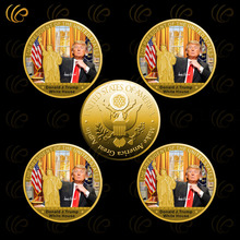 American The 45th President Donald Trump Gold Coin with The White Hourse Gold Plated Coin for Home Decor and Colleciton