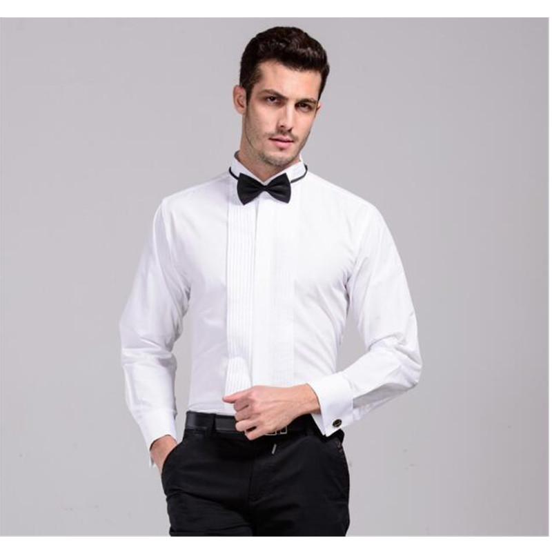 New Arrival French Cuff Wing Tip Collar Men's Formal Dress Shirts Tuxedo Shirts Bridegroom Wedding Shirts For Men Stage Costume