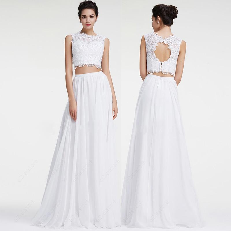 White lace boho wedding dress 2016 lace chiffon two piece for Two piece wedding dress