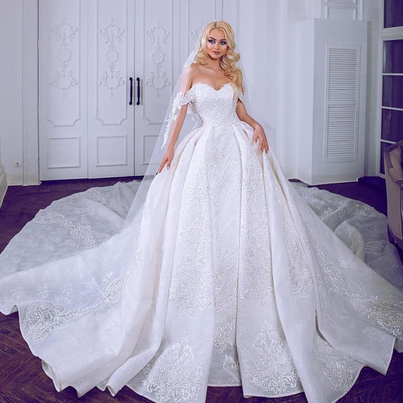 Plus Size Wedding Ball Gowns: Luxury Ball Gown Lace Wedding Gowns Sweetheart Off The