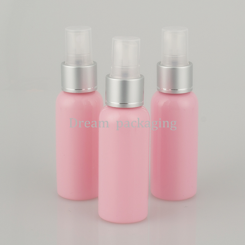 50pcs 50ml pink spray pump travel PET bottle for cosmetic packaging 1 7 oz plastic empty