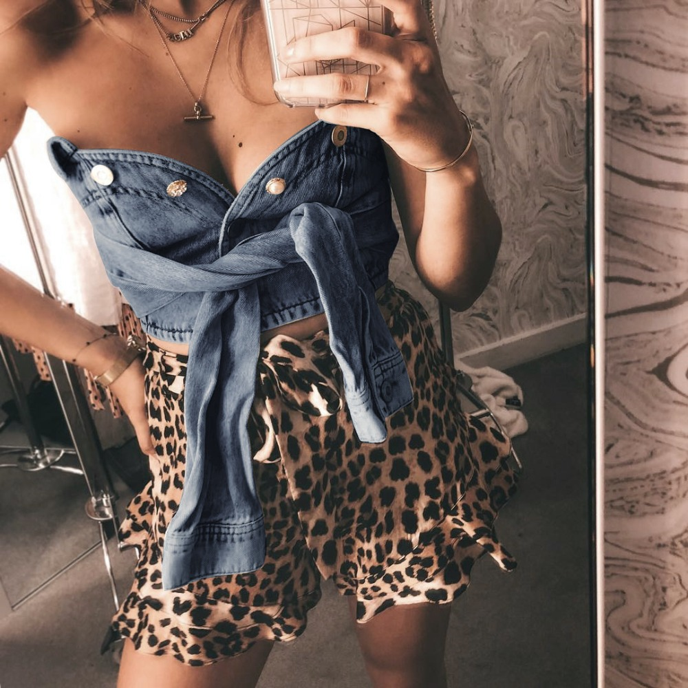 CRISCKY Off Shoulder Sleeveless T shirt Women Short Top 2019 Buttons Party Bustier Tops Elastic Tube Club Women Top in T Shirts from Women 39 s Clothing