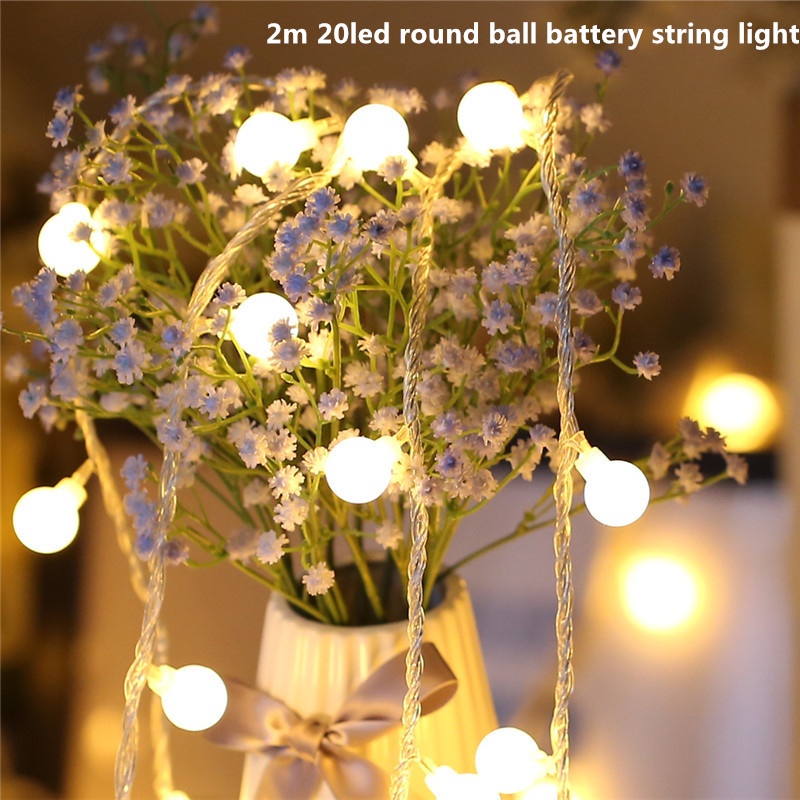 2m20led Round Ball String Light 3*AA Battery Operated Waterproof Fairy Led Christmas Light For Holiaday Party Wedding Decoration