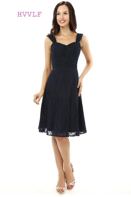aa47aaeb635 Lace 2018 Homecoming Dresses A-line Sweetheart Cap Sleeves Knee Length Navy  Blue Sweet 16 Cocktail Dresses
