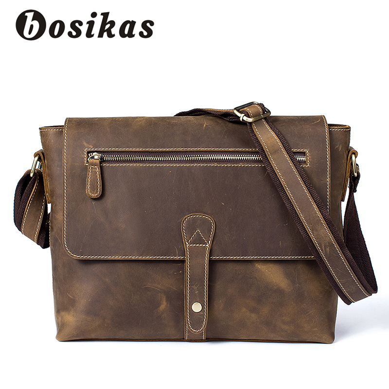 BOSIKAS Men Shoulder Bags Zipper Genuine Leather bag Casual Solid Messenger bags Soft Leather Men Bag Brand Vintage Flap Pocket