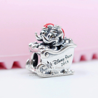 925 Sterling Silver Disne Parks, Santa Mickey and Minnie Mouse Christmas Sleigh & Enamel Charm Fit European Bracelets Necklaces