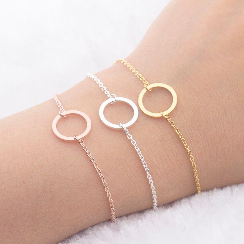 Eternity Φιλίας Βραχιόλια Ανδρών Γυναίκα Γεωμετρία Κάρμα Κοσμήματα Round Circle Καλύτερα Δώρα φίλου Rose Χρυσό Βραχιόλι Homme Bijoux