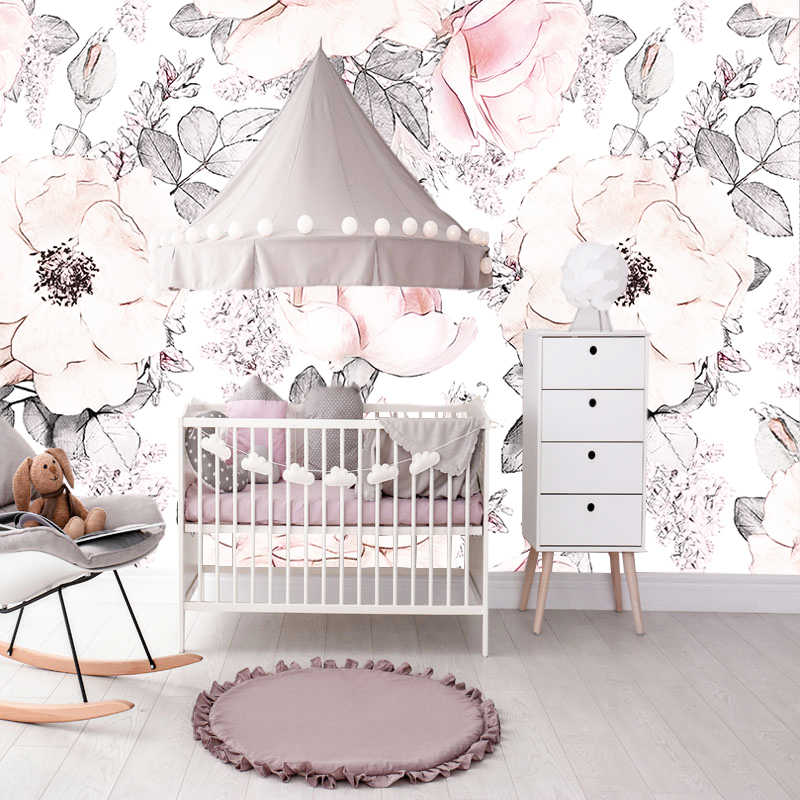 Amie 9M Zone customerize size mural wallpapers girls bedroom floral  wallpapers baby pink white background wall-papers