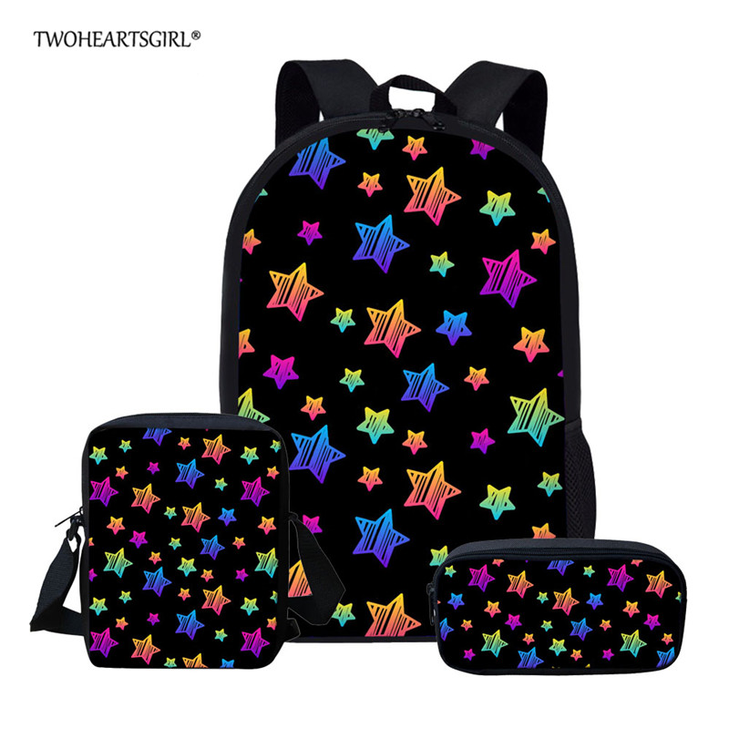 Twoheartsgirl Children School Bags Set For Girls And Boys Orthopedic Backpack Colorful Star Printed School Bag Kids Satchel