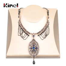 Kinel Exaggerated Indian Ethnic Necklace For Women Antique Gold Fashion Crystal Vintage Wedding Jewelry Pendant