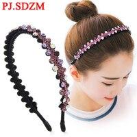 Luxury CZ Crystal HairBands Fashion Women Hair Accessories Fashion Flower Rhinestone Bridal Wedding Headband Girl Headwear