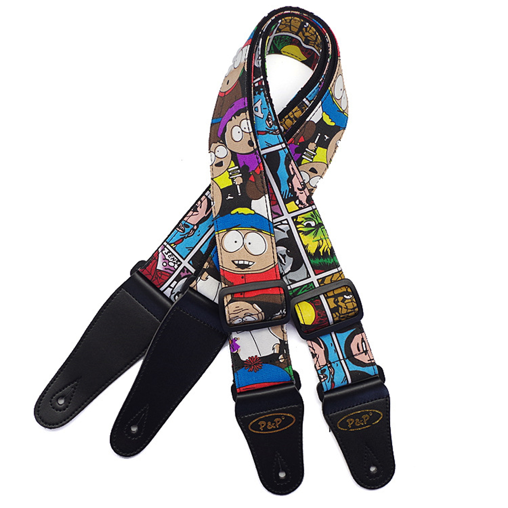 Colorful Cartoon Cotton Guitar Strap Electric Guitar Acoustic Guitar Folk Guitar Bass Strap amumu cotton guitar strap for acoustic electric guitar and bass solid color guitar belt adjustable 66 126 cm length s309