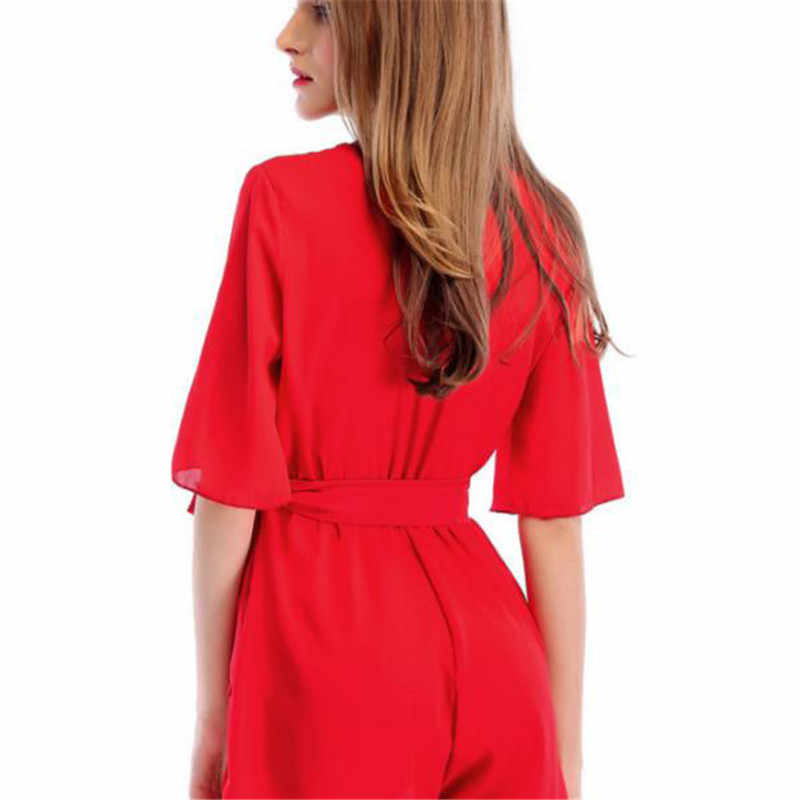 Monos sueltos de Color sólido para mujer 2018 verano nueva moda estilo inglés Casual moño monos elegantes de gasa Chic 451