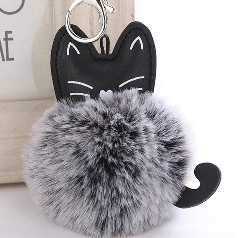 8edd1a807 Fluffy Cat Keychain Chaveiro Pompom Variable Color Fake Rabbit Fur pompon Key  Chain llaveros mujer Bag Car Keyring sleutelhanger