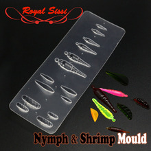 2019hot one plate of nymph &shrimp shape intergrated fly tying UV resin mould Gammarus segmental bug bond tools