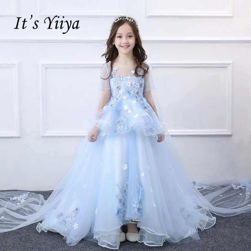 It's yiiya Pearl Beading Illusion Quality Elegant Blue Child Cloth Train Kid   Flower     Girl     Dress   For Party Wedding   Girl     Dress   S042