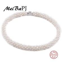 [Meibapj] natural 100% genuine pearl collar con cierre de plata 925 joyería de perlas collar de gargantilla