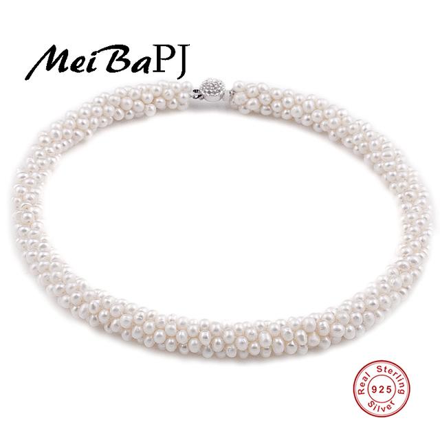 [Meibapj] natural 100% genuine pearl colar com 925 fecho de prata da pérola de jóias colar gargantilha