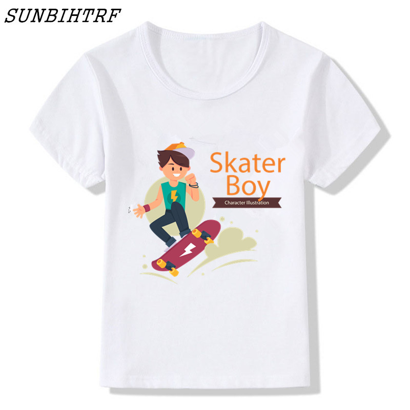 Sunbihtrf New Summer Baby Boys Skateboard Abstract Watermarking Cotton Short Sleeved Kids Clothes T-shirt Vestido Infantil Good For Antipyretic And Throat Soother