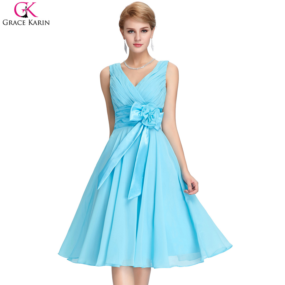 Bridesmaid Dresses Grace Karin Chiffon V Neck Purple Blue Plus Size ...