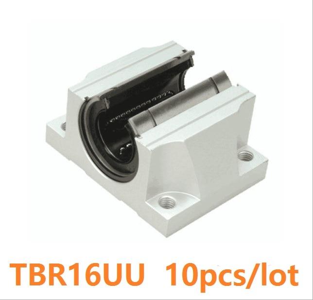 Roulements linéaires à billes TBR16 UU TBR16UU   type ouvert pour le bloc de Support de lunité coulissante pour routeur, 10 pièces/lot