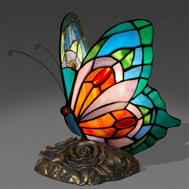 나비 테이블 램프 아트 장식 스테인드 글라스 조명 거실 나비 티파니 침실 호텔 침대 옆 테이블 램프