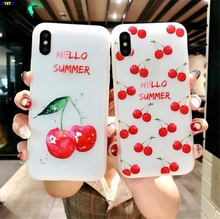 Cyato Case For iPhone 8 case Lovely Cartoon Relief Cherry Fruit Painted back cover 6 6s 7 Plus X Matte Soft TPU capa