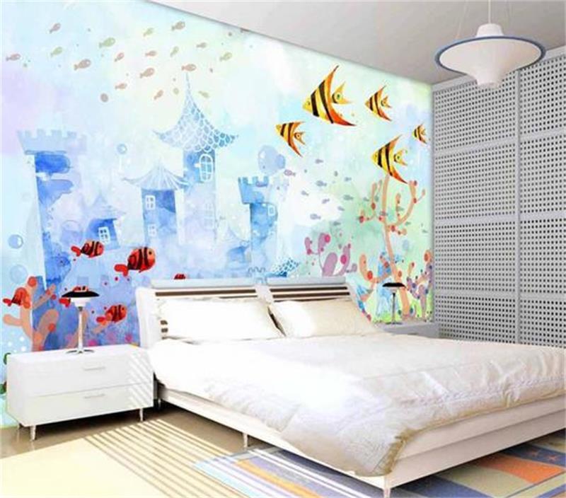Custom 3d Hd Photo Wallpaper Mural Non Woven Kids Room Sticker Sea Cartoon Oil Painting Sofa Tv Background Wallpaper For Wall 3d