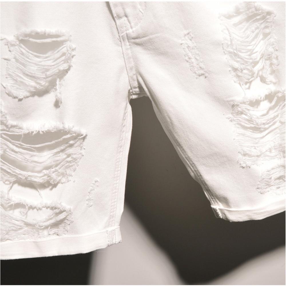 Original Men Denim Jeans Shorts Hole Ripped Knee Length White ...