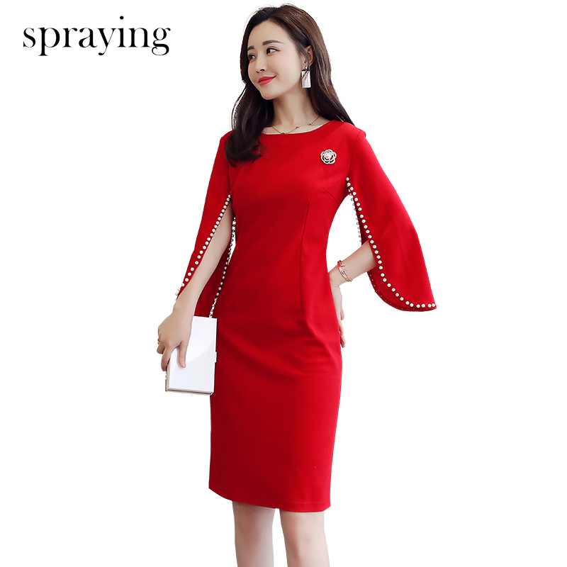 2019 New slim Long cloak sleeve with beading Ladies temperament slim dress with brooch korean spring