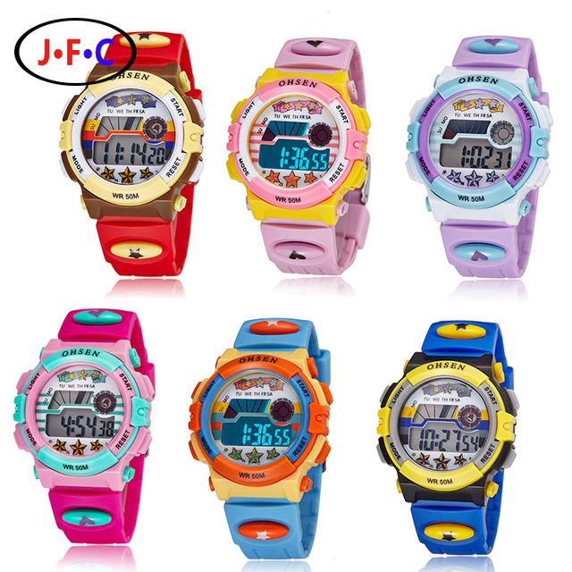 Crianças da marca de Esportes Relógios LED Digital Quartz Relógio de Pulso Relogio masculino Ao Ar Livre À Prova D' Água