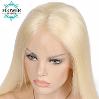 FlowerSeason Malasia Blonde #613 Llena Del Cordón Pelucas Rectas Sedosas Del Pelo Humano Remy Del Pelo Con Nudos Blanqueados Pelo Del Bebé Mano atado