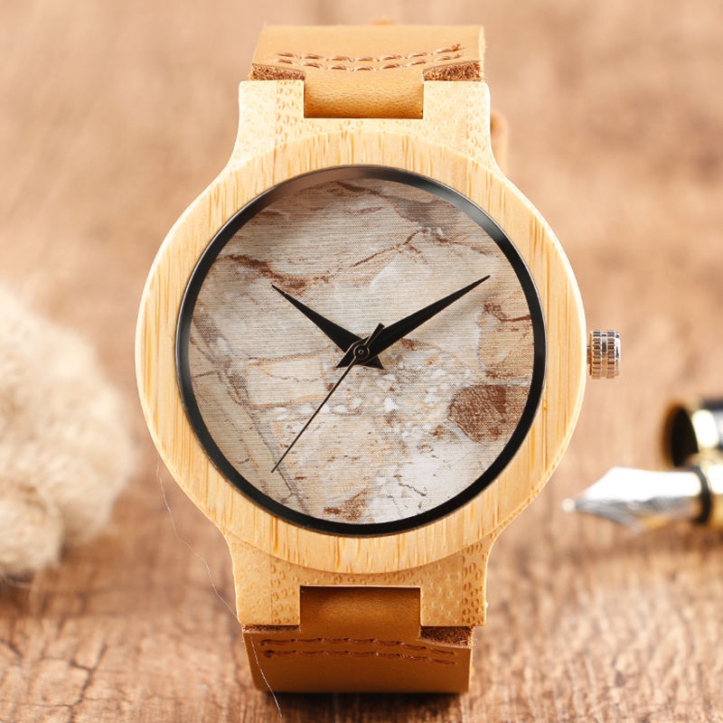 Minimalist Bamboo Watch Creative Marble Pattern Face Women Natural Cloud Wood Clock Men Quartz Wristwatch Genuine Leather Bangle