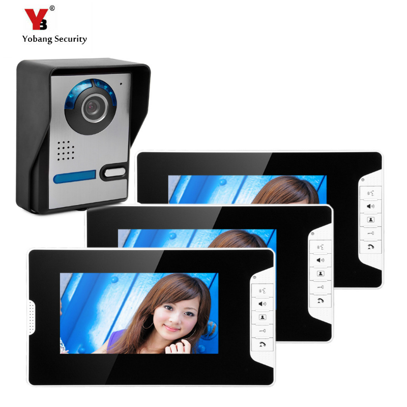 Yobang Security Freeshipping 7 Video Color three Monitor Kit The Door bell Phone video intercom Doorbell