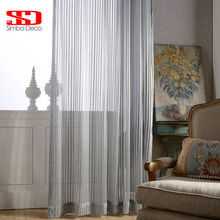 Solid Grey Striped Tulle Curtains For Bedroom Modern Blinds Voile Sheer Window Curtains For Living Room Ready Made Liner Panels
