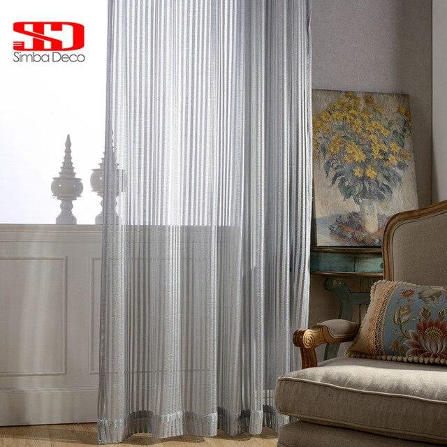 Solide gris ray tulle rideaux pour chambre moderne stores voilage fen tre rideaux pour le salon - Voilage moderne fenetre ...