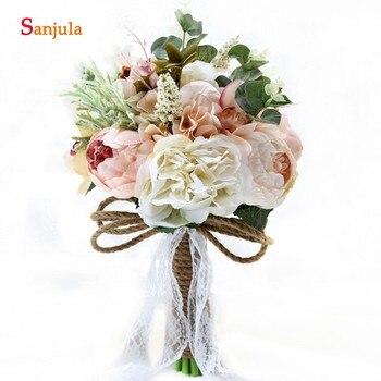 Güzel çiçek Gelin Yapay Buket Bahçe Açık Düğün Nedime Buketleri Için