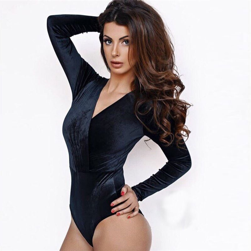 f510ed159b Women Bodysuits Black Deep V Neck Sexy Jumpsuits Long Sleeve Body Suit  Bodycon Sheath Playsuit Velour