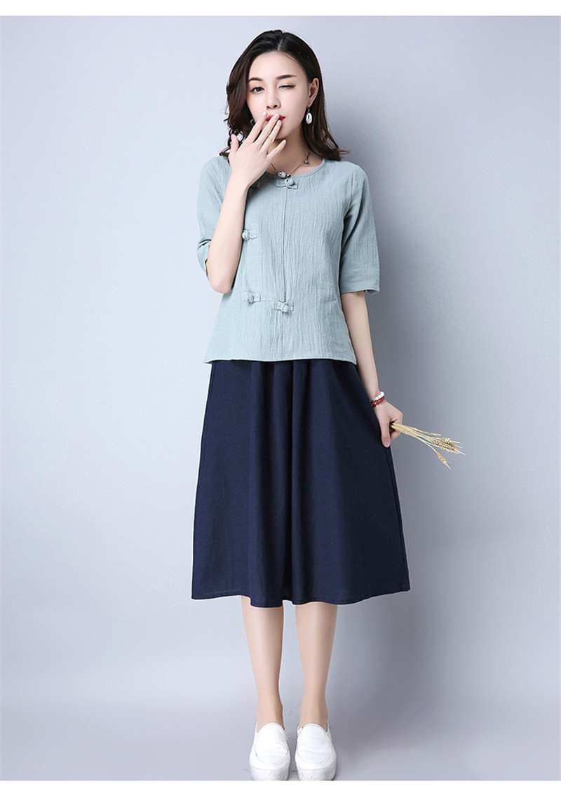 Cotton 2018 Summer Half Sleeve Loose Lady Vintage Women Shirt O Neck Chinese Style Linen T-Shirt Button 3XL 22
