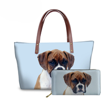 NOISYDESIGNS Cute Boxer Dog 3D Printing Shoulder Bags for Women Travel Handbags Ladies Top-Handle Bag&Wallet Feminine Sac A Main