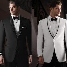 4fb49f62e35 Slim Fit un botón negro blanco smokinges del novio padrinos traje  personalizado barato hombres de la boda Prom Trajes (chaqueta .