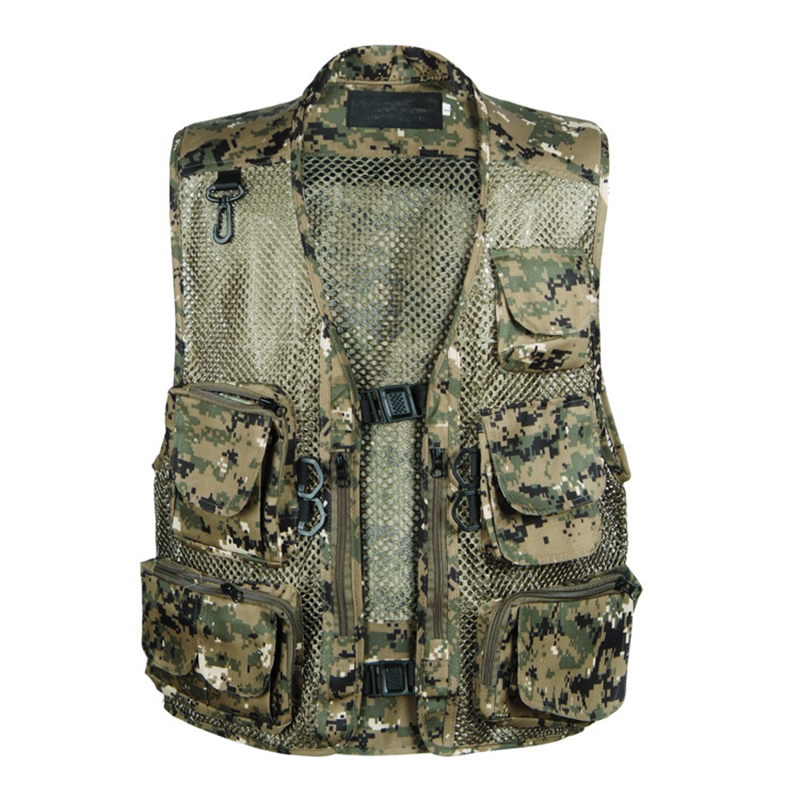 Plus Size Hurtigtørrende Camouflage Hunting Vests Polyester Mesh Fishing Life Vest Jakke Multi-Pocket Outdoor Photography Vest