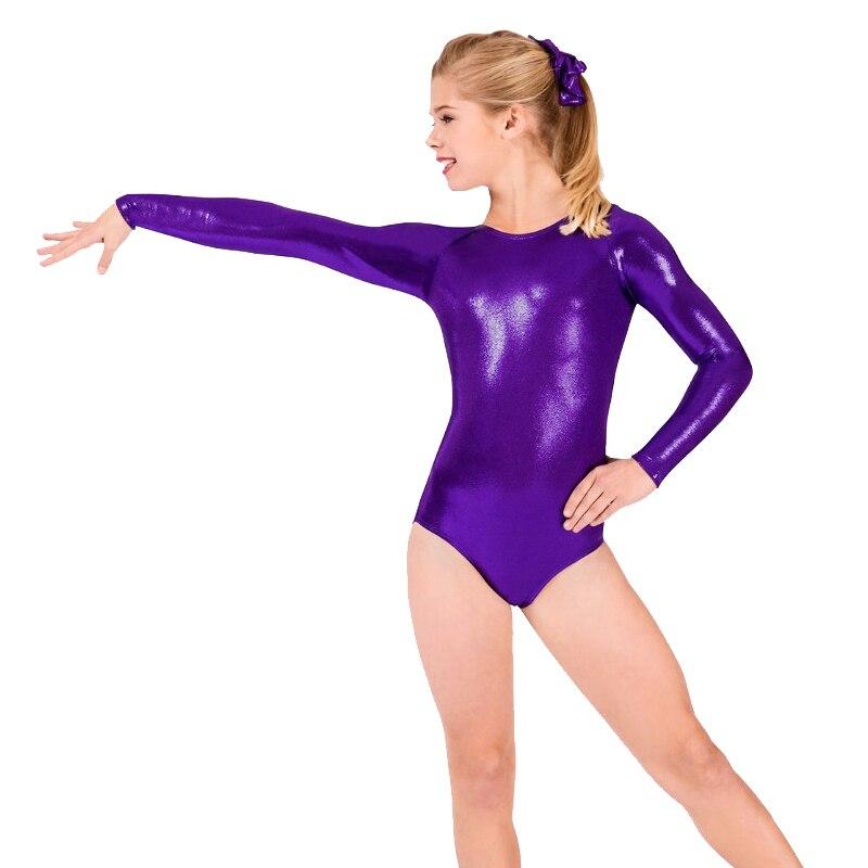 2fe1335b2 Ropa de gimnasia metálica brillante para niñas, cuerpo de danza brillante,  Bodysuit para Ballet, ...