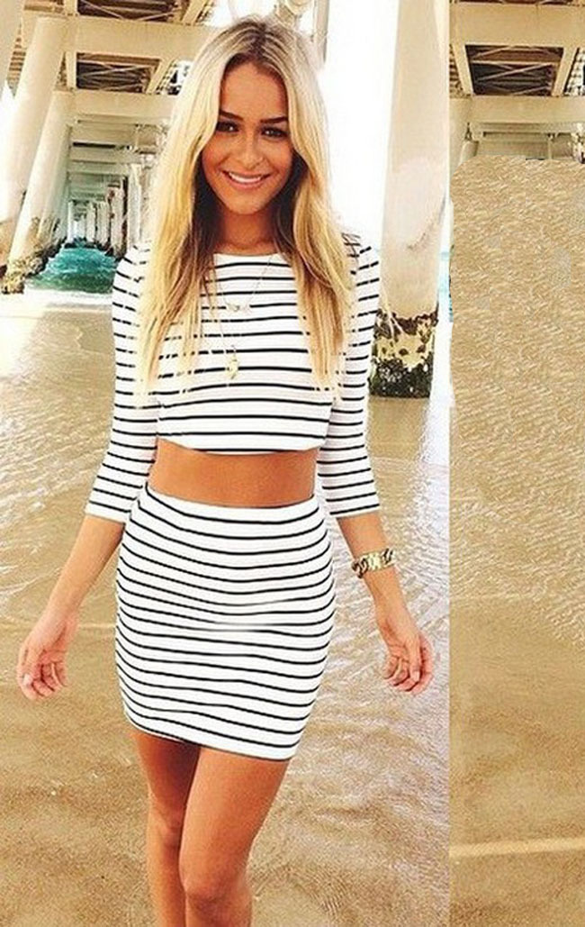 d3c7d8a85d4 Plus Size S-XL Summer Fashion Black White Striped Pencil Skirt Set Slim  Striped Women s Set Bodycon Crop Top Sets Free Shipping