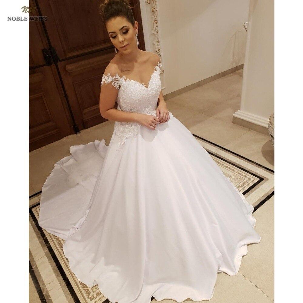 Robes de mariée 2019 chérie ivoire satin robe de gala appliques perlées robe de mariée a-ligne robe de mariée avec court train
