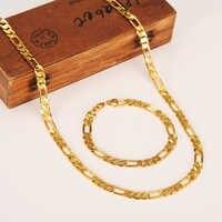 Fashion 18 K Yellow Gold Filled Men's OR Women's Trendy Bracelet 21cm Necklace Set Figaro Chain Watch Link