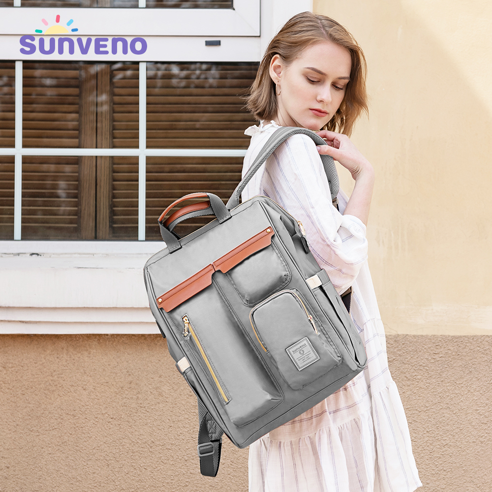 Sunveno Diaper Bag Backpack Large Capacity Baby Bag For Stroller Backpack For Moms Mummy Travel Nappy Bag Waterproof